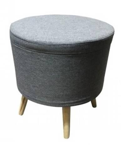 SAMIR taburet s úložným prostorem, šedá látka
