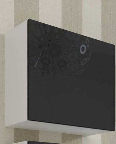 Vitrína čtvercová VIGO, bílá/černý lesk