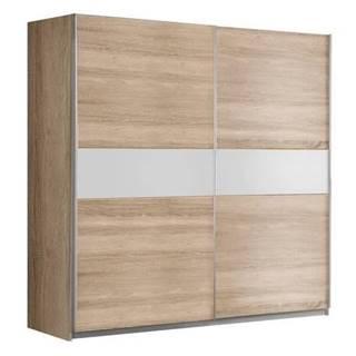 GOLDSTAR, šatní skříň, dub sonoma/bílá