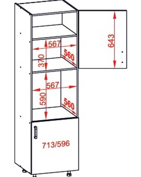 Smartshop IRIS vysoká skříň DPS60/207 pravá, korpus šedá grenola, dvířka bílá supermat