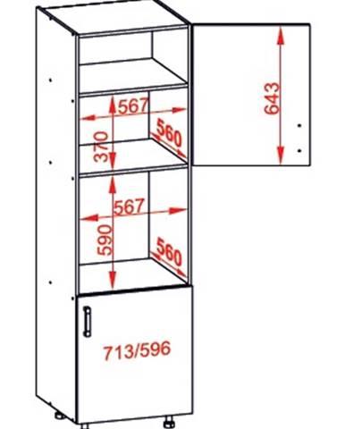 IRIS vysoká skříň DPS60/207 pravá, korpus šedá grenola, dvířka ferro