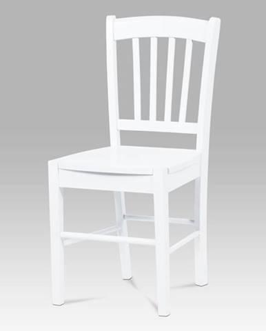 Jídelní židle AUC-005 WT, celodřevěná, bílá