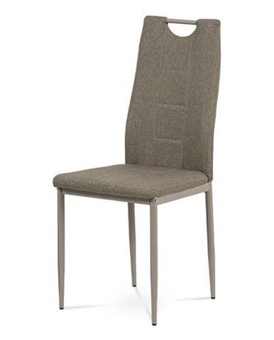 Jídelní židle, cappuccino látka, kov cappuccino lesk DCL-393 CAP2