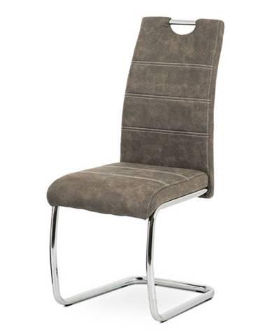 Jídelní židle HC-483 BR3, hnědá látka/chrom