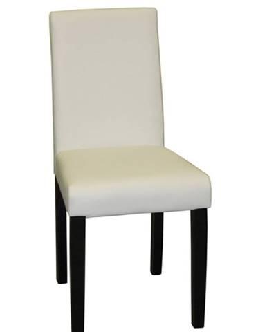 Jídelní židle Prima, bílá/hnědé nohy