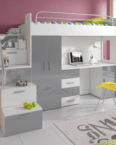 Patrová postel se skříní a psacím stolem RAJ 4S, bílá/šedá