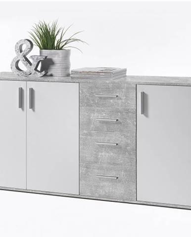 POPPY 3 komoda, bílá / beton