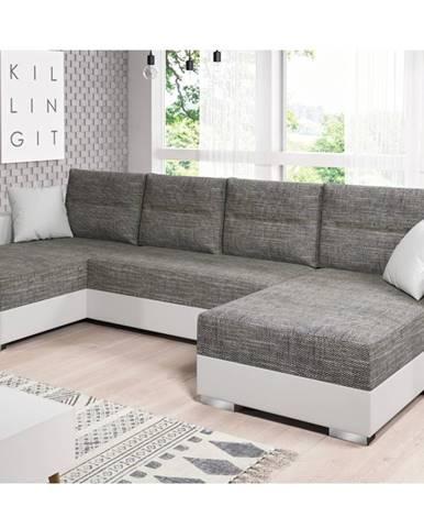 Rohová sedačka HERON, šedá látka/bílá ekokůže