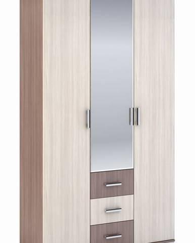 Šatní skříň 3-dveřová ROCHEL 45 cm jasan šimo (ROCHEL SK803-G8 SKŘÍŇ 3D3S+ZRC.45 j.šimo světlý)