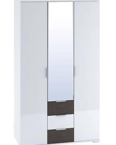 Šatní skříň 3-dveřová TERRA wenge/bílý lesk (TERRA SK823-A0 SKŘÍŇ 3D3S+ZRC.45 bíl.lesk+wenge3D)