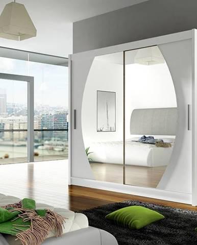 Šatní skříň BEGA IV, bílý mat/zrcadlo