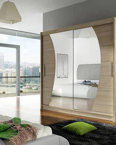 Šatní skříň BEGA IX, dub sonoma/zrcadlo