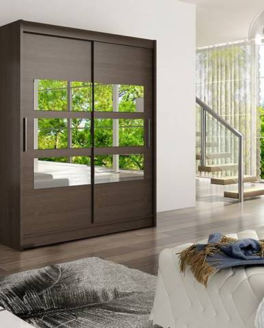 Šatní skříň WESTA VII, choco/zrcadlo