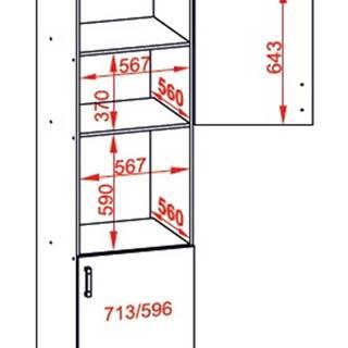 IRIS vysoká skříň DPS60/207 pravá, korpus bílá alpská, dvířka bílá supermat