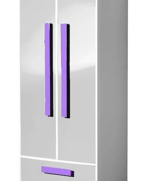 Smartshop Šatní skříň GULLIWER 1, bílý lesk/fialová
