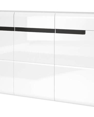 HEKTOR komoda TYP 42, bílá/bílý lesk
