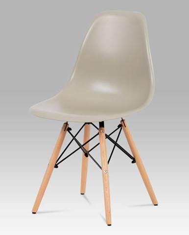Jídelní židle CT-758 LAT, plast latté / masiv buk / kov černý