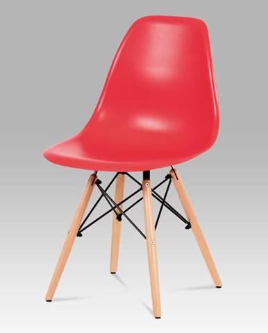 Jídelní židle CT-758 RED, plast červený / masiv buk / kov černý