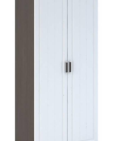 PRAGA WK-902 šatní skříň 2D, wenge/bílá (PRAGA SK902-A1 SKŘÍŇ 2D bílé dřevo)