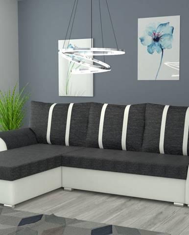 Rohová sedačka IRIS univerzální, černá látka/bílá ekokůže