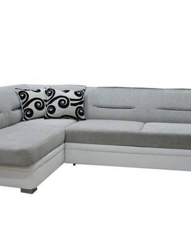 Rohová sedačka TOLEDO bez záhlavníku, levá, látka šedo/bílá