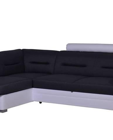 Rohová sedačka TOLEDO se záhlavníkem, levá, látka šedá/bílá ekokůže