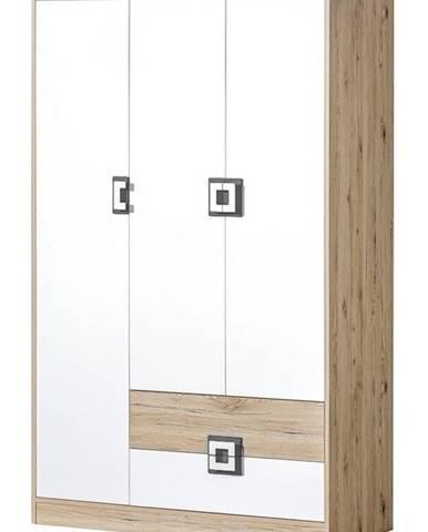 Šatní skříň 3-dveřová NIKO 3, dub jasný/bílá/popel