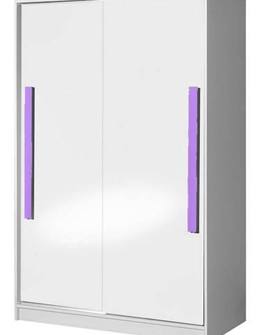 Šatní skříň s posuv. dveřmi GULLIWER 12, bílá lesk/fialová