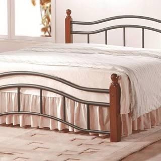 CALABRIA, postel 180x200 s roštem, třešeň antická, kov/masiv