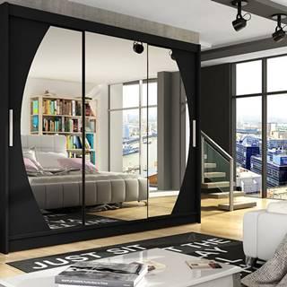 Šatní skříň ASTON V, černý mat/zrcadlo