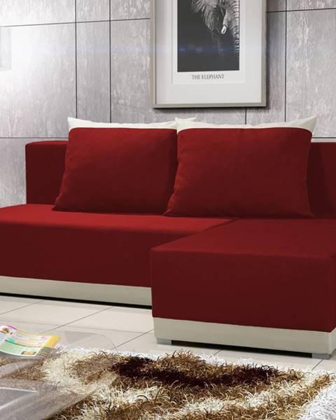 Smartshop Rohová sedačka BRAGA 5, červená látka/krémová látka
