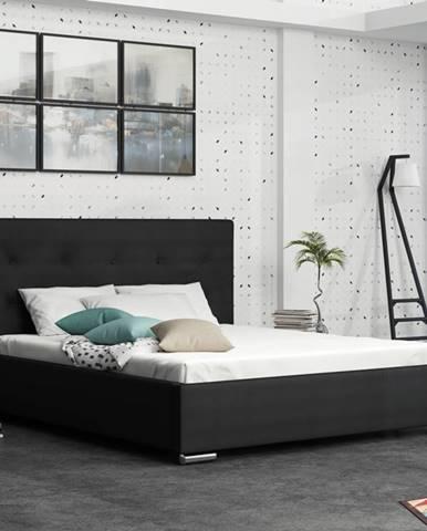 Čalouněná postel SOFIE 1 180x200 cm, černá látka