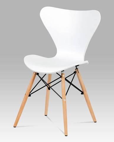 Jídelní židle CT-742 WT, bílý plast / natural