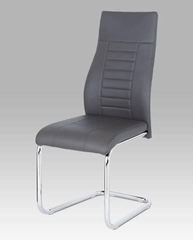 Jídelní židle HC-955 GREY, šedá koženka / chrom
