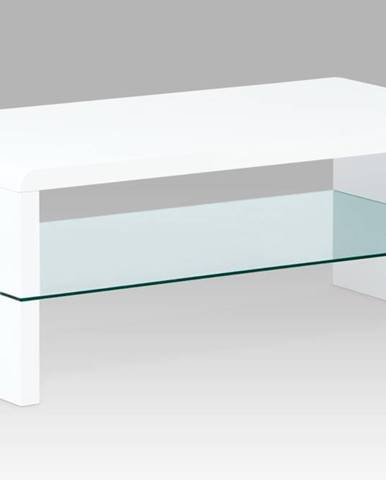 Konferenční stolek AHG-402 WT, vysoký lesk bílý / čiré sklo