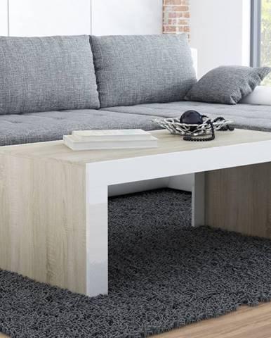 Konferenční stolek TESS, dub sonoma mat/bílý lesk