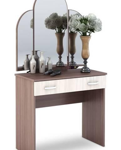 Toaletní stolek se zrcadlem BASIA  CT-551, sv./tm. jasan šimo