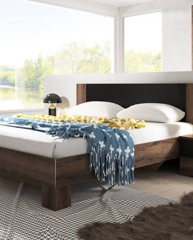 VERA postel 160x200 cm s nočními stolky, dub monastery/černá