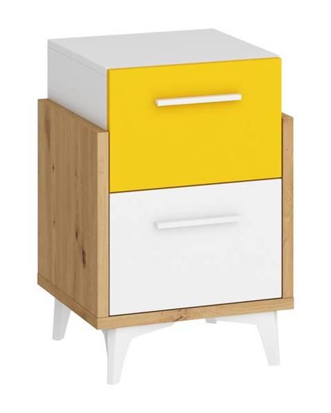 MORAVIA FLAT Hey – noční stolek 45, dub artisan/bílá/žlutá