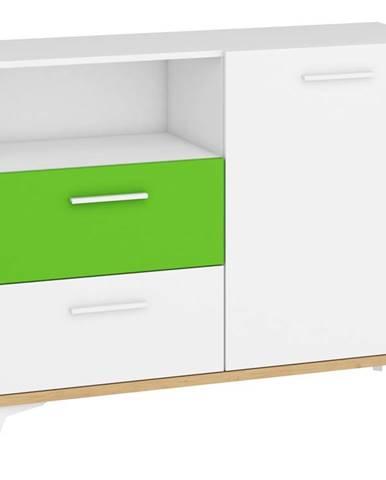 Hey - Komoda 125W, dub artisan/bílá/zelená