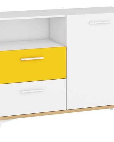 Hey - Komoda 125W, dub artisan/bílá/žlutá