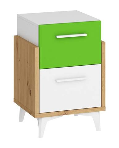 Hey – noční stolek 45, dub artisan/bílá/zelená