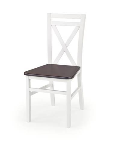 Jídelní židle DARIUSZ 2, bílá/ořech tmavý