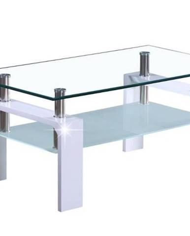 LIBOR konferenční stolek, sklo/bílý lesk