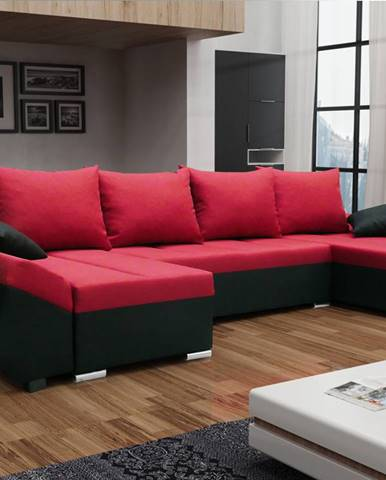 Rohová sedačka KORFU U, červená látka/černá látka
