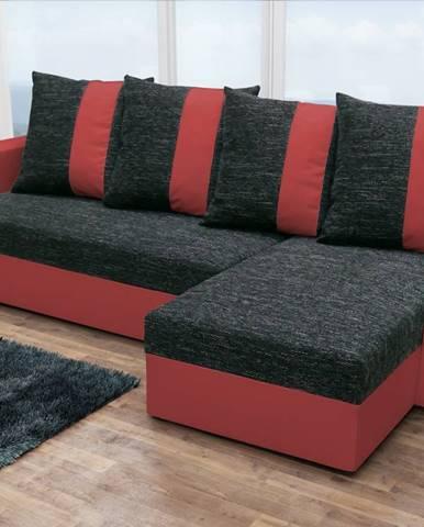 Rohová sedačka PRAGA, černá látka/červená ekokůže