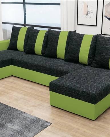 Rohová sedačka PRAGA U, černá látka/zelená látka