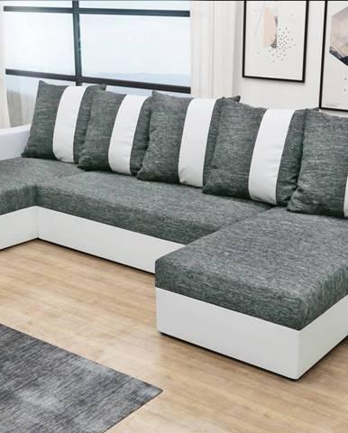 Rohová sedačka PRAGA U, šedá látka/bílá ekokůže