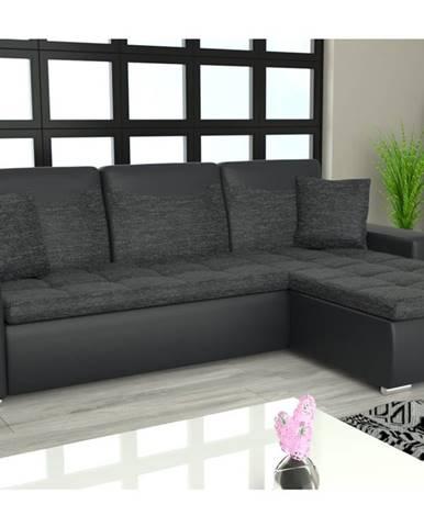 Rohová sedačka YORK L univerzální, černá látka/černá ekokůže