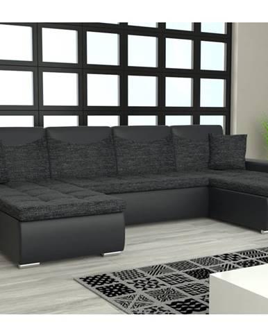 Rohová sedačka YORK U, černá látka/černá ekokůže